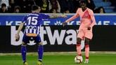 Ousmane Dembele menjadi salah satu penghuni trio lini depan Barcelona bersama Luis Suarez dan Philippe Coutinho. (REUTERS/Vincent West)