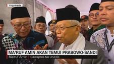 VIDEO: Ma'ruf Amin Akan Temui Prabowo-Sandi