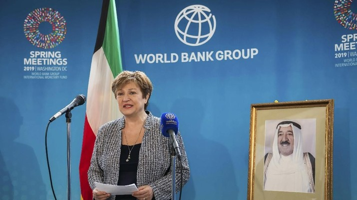 IMAGE DISTRIBUTED FOR MINISTRY OF FINANCE KUWAIT - In this image released on Tuesday, April 23, 2019, World Bank Group CEO Kristalina Georgieva recognizes H.H. the Amir of the Ministry of Finance Kuwait for his exemplary role in supporting social and economic development at the global level on Friday, April 12, 2019 in Washington. (Joy Asico/AP Images for the Ministry of Finance Kuwait)