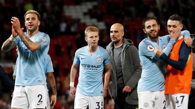 Manchester City kembali ke puncak klasemen dengan 89 poin, unggul satu poin atas Liverpool. (Action Images via Reuters/Carl Recine)