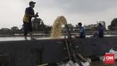 Warga membuang air luapan Kali Ciliwung menggunakan pompa air untuk mengurangi genangan. Ketinggian genangan air mencapai 50 centimeter hingga satu meter.(CNN Indonesia/Adhi Wicaksono)