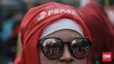 Mereka minta rezim upah murah dihapus, menaikkan jumlah komponen hidup layak,penghapusan perbudakan modern berkedok pemagangan dan honorer (CNN Indonesia/Andry Novelino)