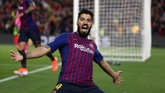 Gol ke gawang Liverpool pada babak semifinal menjadi gol pertama Luis Suarez pada Liga Champions musim ini. (REUTERS/Sergio Perez)