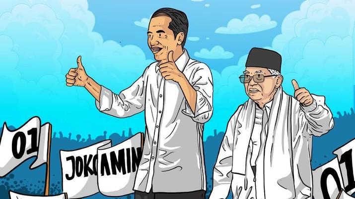Pasangan capres dan cawapres nomor urut 01 Joko Widodo-Ma'ruf Amin masih unggul.
