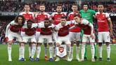 Starting XI Arsenal untuk melawan Valencia jelang leg pertama semifinal Liga Europa di Stadion Emirates, London, Kamis (2/5) malam waktu setempat. (REUTERS/Eddie Keogh)