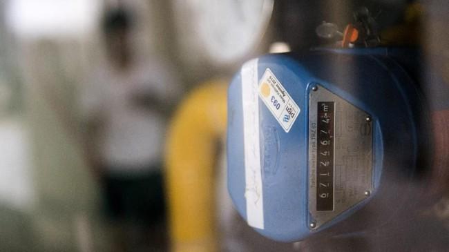 Alat hitung gas di pusat pengolahan makanan ringan Klitik Irwan di Cirebon, Jawa Barat. (M Agung Rajasa).