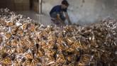 Pekerja mengumpulkan makanan ringan yang telah dikemas di pusat pengolahan makanan ringan (M Agung Rajasa).