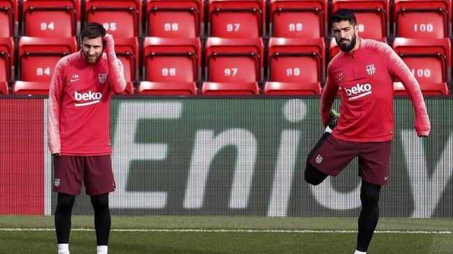Dua pemain Barca yang bakal kembali menjadi momok Liverpool: Lionel Messi dan Luis Suarez. Messi cetak dua gol, Suarez menciptakan satu gol ke gawang The Reds pada leg pertama. (Reuters/Lee Smith)