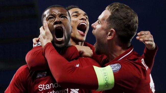 Masuk menggantikan Andrew Robertson di awal babak kedua, Georginio Wijnaldum berhasil dampak signifikan untuk permainan Liverpool dengan mencetak dua gol pada menit ke-54 dan 56'. (REUTERS/Phil Noble)