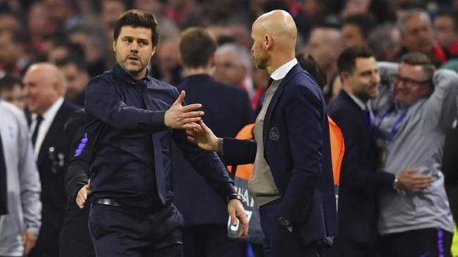 Manajer Tottenham Hotspur, Mauricio Pochettino, berhasi mengantarkan anak asuhnya ke final Liga Champions walau tidak mendatangkan satu pemain pun pada bursa transfer pada awal musim lalu. (REUTERS/Dylan Martinez)