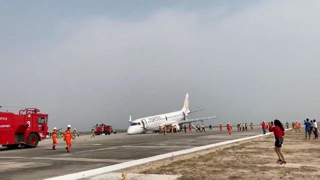 Malfungsi Roda, Pesawat Maskapai Myanmar Mendarat Darurat