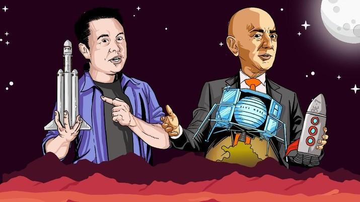 Infografis: 2 Crazy Rich AS Bersaing Jelajahi Angkasa