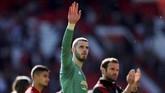 Manchester United disebut tak mampu lagi menahan kipernya, David de Gea, pergi. Pihak agen De Gea dikabarkan semakin dekat dengan kata sepakat merapat ke klub Ligue 1 Prancis, Paris Saint Germain. (Reuters/Lee Smith)