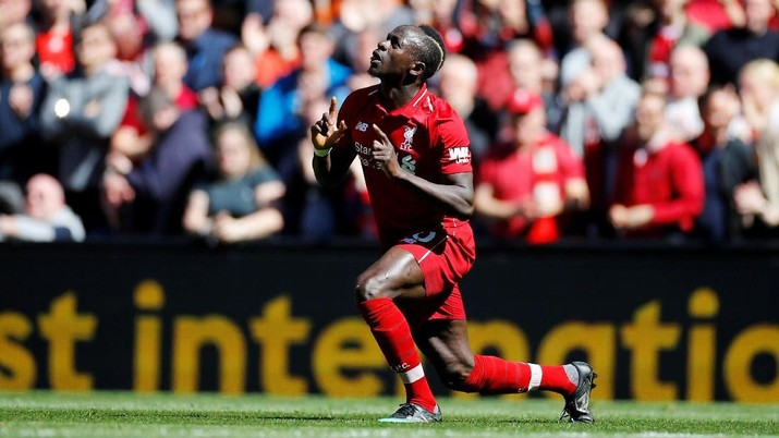 Soccer Football - Premier League - Liverpool v Wolverhampton Wanderers - Anfield, Liverpool, Britain - May 12, 2019  Liverpool's Sadio Mane celebrates scoring their first goal  REUTERS/Phil Noble  EDITORIAL USE ONLY. No use with unauthorized audio, video, data, fixture lists, club/league logos or