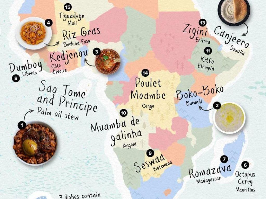 Meski persentase nya kecil, tapi makanan Afrika juga sering diunggah ke Instagram. Di posisi pertama ada Sao Tome Principe, lalu ada Dumboy, hingga Canjeero dari Somalia. Foto: Rebecca Moss/Boredpanda