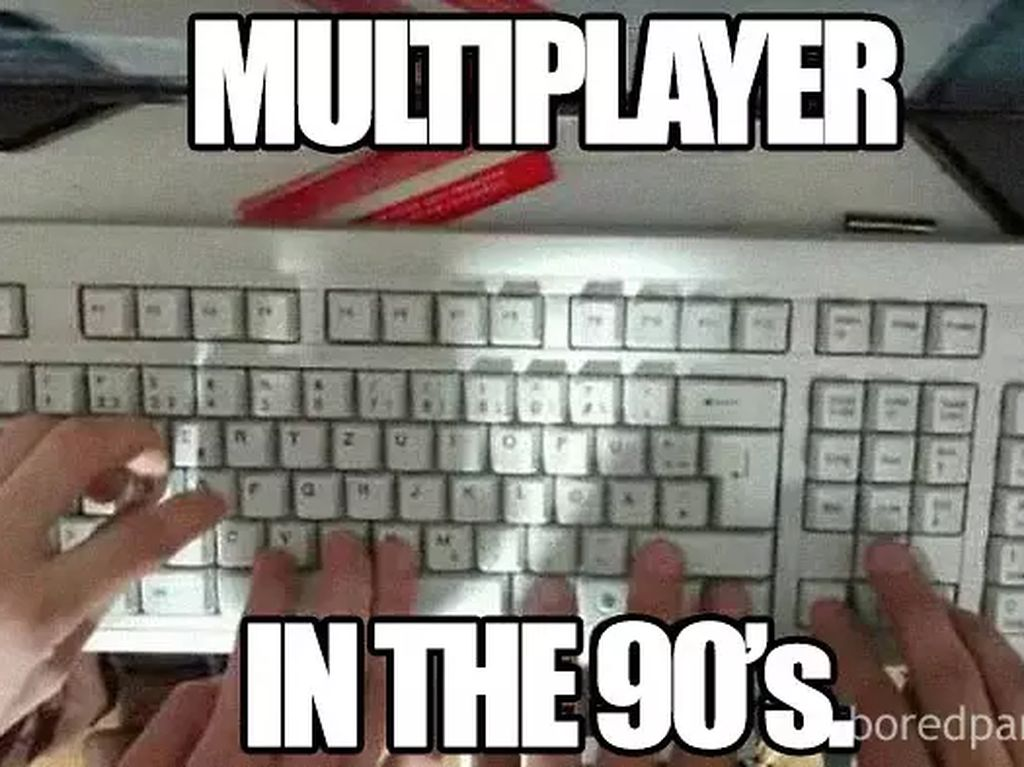 Begini nih main multiplayer jadul. Kadang bisa sampai sikut-sikutan juga lho. (Foto: Boredpanda.com)