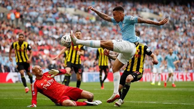 Gabriel Jesus mencetak dua gol ke gawang Watford yang membuatnya sudah mencetak lima gol di Piala FA. Penyerang asal Brasil itu juga telah memberikanempat assist. (Action Images via Reuters/John Sibley)