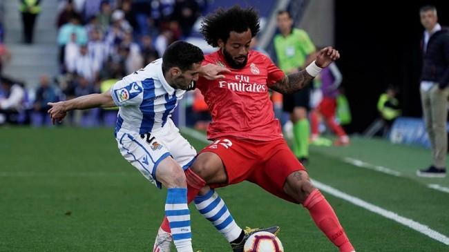 Sempatjarang bermain sebagai starter bersama Real Madrid membuat Marcelo tidak dipanggil ke timnas. Di masa kepemimpinan Santiago Solari, Marcelo kerap menghuni bangku cadangan Los Blancos. (REUTERS/Vincent West)