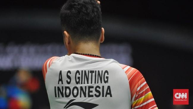 Anthony Ginting yang dipercaya menjadi tunggal putra pertama Indonesia menang dua gim langsung atas Toby Penty. (CNN Indonesia/Putra Permata Tegar Idaman)