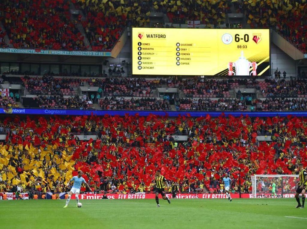 Enam gol digelontorkan Man City ke gawang Watford di Stadion Wembley, Sabtu (18/5/2019) malam WIB. Gol-gol City lahir dari David Silva, Kevin De Bruyne, Gabriel Jesus, dan hat-trick Raheem Sterling. (Foto: Julian Finney/Getty Images)