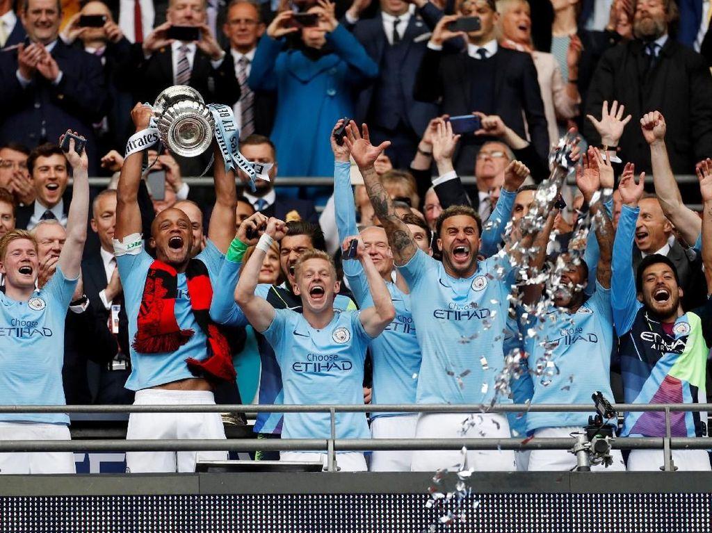 Hasil ini mengantarkan City ke raihan Piala FA untuk keenam kalinya. Sebelumnya, mereka memenanginya pada musim 1903-04, 1933-34, 1955-56, 1968-69, dan 2010-11. (Foto: John Sibley / Action Images via Reuters)