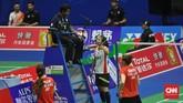 Greysia Polii/Apriyani Rahayu yang menjadi wakil Indonesia di pertandingan keempat juga menang atas ganda putri Chloe Birch/Lauren Smith. (CNN Indonesia/Putra Permata Tegar Idaman)