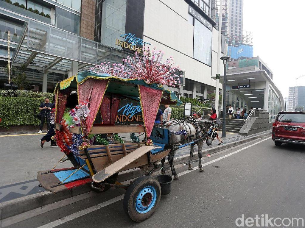 Sama seperti yang dimonas, delman yang beroperasi di Jalan Thamrin itu juga dihias dengan kembang kelapa berwarna warni.