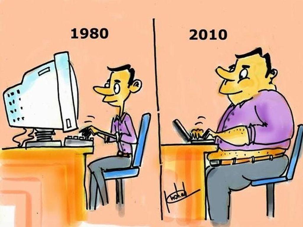 Komputer semakin kecil, namun manusianya makin besar karena malas bergerak. (Foto: justsomethingcreative)