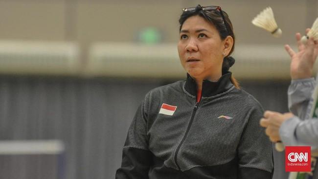 Susy Susanti, Kabid Binpres PBSI, meminta para skuat Indonesia memberikan penampilan terbaik di laga terakhir Grup 1B melawan Denmark. (CNN Indonesia / Putra Permata Tegar Idaman)