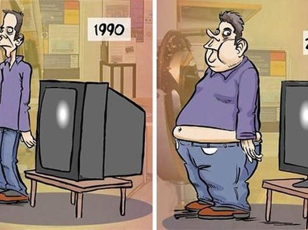 Televisi dan manusia zaman dulu dan sekarang; bagaikan bertukar bentuk. (Foto: justsomethingcreative)
