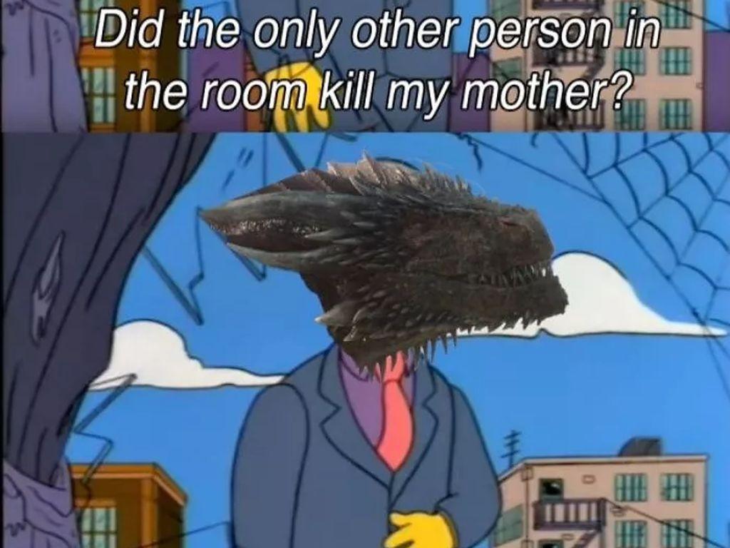 Drogon kebingungan, yangmenghabisi sang Mother of Dragon itu siapa sih? (Foto: Boredpanda.com)