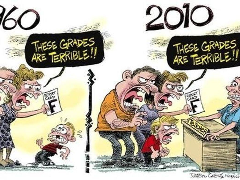 Zaman sekarang malah gurunya yang diomeli orangtua murid. (Foto: justsomethingcreative)
