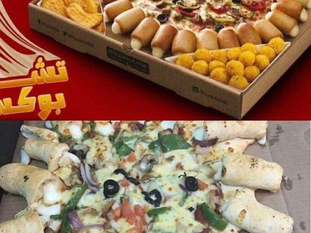 Pesan pizza dengan topping keju leleh di pinggirannya, yang datang justru pizza dengan jaring-jaring dan kentang yang sudah lembek. Duh! Foto: Istimewa