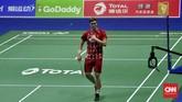 Victor Axelsen menang secara mudah atas Anthony Ginting dengan skor 21-9 dan 21-16.(CNN Indonesia/Putra Permata Tegar)