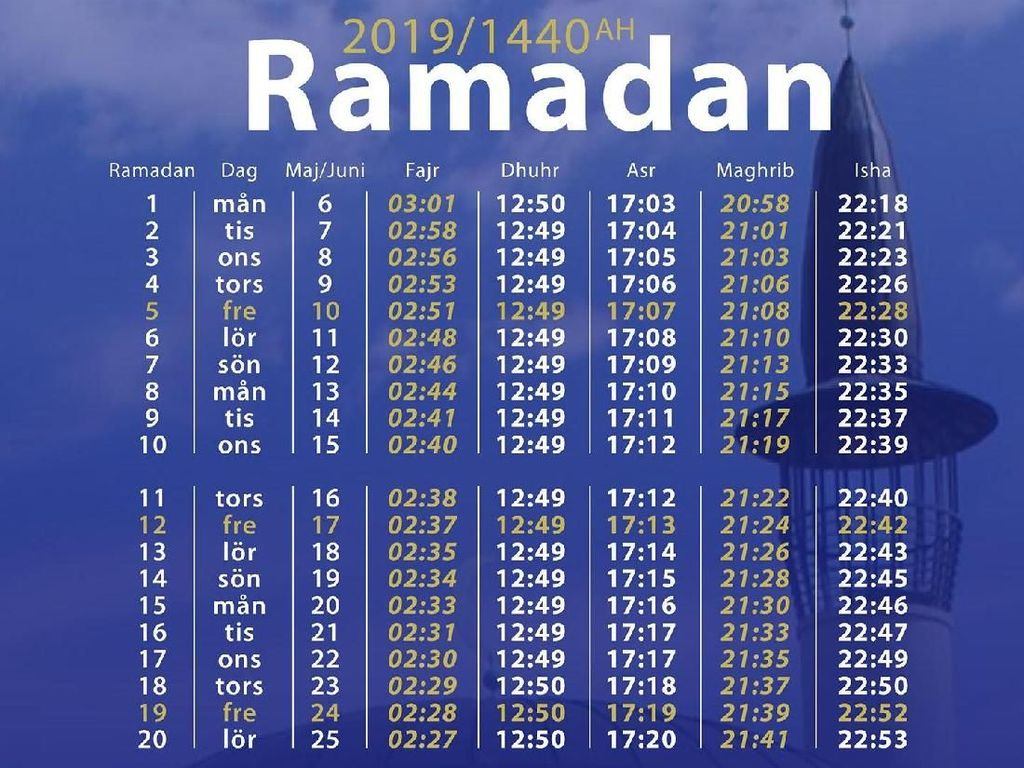 Jadwal salat di bulan Ramadhan 2019. Beberapa masjid di Stockholm adalah Khadija Center, Husby Mosque, Rinkeby Mosque, Aysha Mosque, dan Stockholm Central Mosque (Facebook Page Stockholm Mosque)