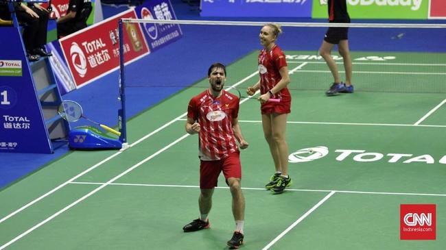 Kemenangan ganda campuran Mathias Christiansen/Sara Thygesen atas Hafiz/Gloria seolah menjadi motivasi bagi pebulutangkis Denmark lainnya.(CNN Indonesia/Putra Permata Tegar)