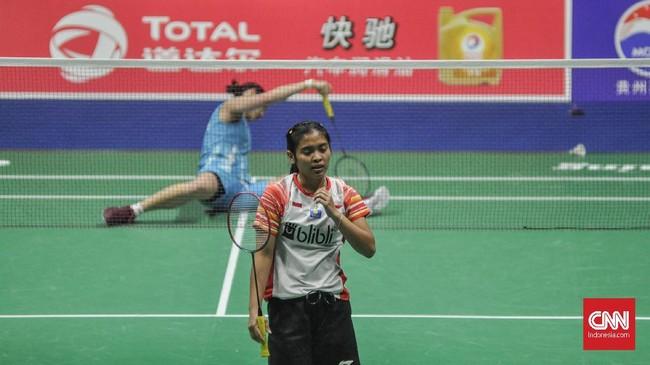 Di pertandingan kedua tunggal putri Gregoria Mariska gagal menambah keunggulan setelah kalah dari atlet nomor satu dunia Tai Tzu Ying. (CNN Indonesia/Putra Permata Tegar Idaman)