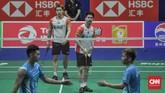 Kevin/Marcus bermain cukup apik sepanjang 44 menit pertandingan melawan Lee Yang/Wang Chi-Lin. Indonesia pun unggul 1-0 atas Taiwan. (CNN Indonesia/Putra Permata Tegar Idaman)