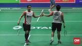 Titik kebangkitan Indonesia terjadi di nomor pertandingan keempat ketika Greysia Polii/Apriyani Rahayu menang21-13 dan21-7 atas Pai Yu Po/Wu Ti Jung. (CNN Indonesia/Putra Permata Tegar Idaman)