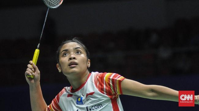 Meski sempat memberi perlawanan, Gregoria Mariska kalah 16-21 dan 14-21 dari Tai Tzu Ying. Kedudukan pun sama imbang 1-1. (CNN Indonesia/Putra Permata Tegar Idaman)