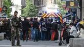 Prancis geger akibat bom koper yang meledak di Lyon, kota kedua terbesar di negara itu, pada Jumat (24/5),jelang pemilihan umum Parlemen Eropa. (AFP Photo/Philippe Desmazes)