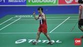 Akane Yamaguchi menang dua gim langsung 21-13 dan 21-13 sekaligus membuat Jepang menyamakan kedudukan 1-1. (CNN Indonesia/Putra Permata Tegar)
