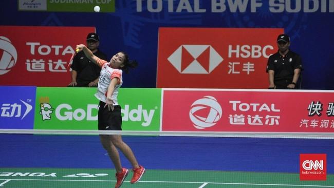 Gregoria Mariska yang diharapkan bisa memberikan kejutan di nomor tunggal putri tak mampu memberikan tekanan pada Akane Yamaguchi. (CNN Indonesia/Putra Permata Tegar)