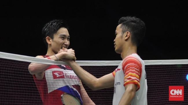 Anthony Ginting akhirnya kalah 17-21 dan 19-21 dan membuat Indonesia tertinggal 1-2. (CNN Indonesia/Putra Permata Tegar)