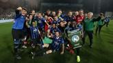 Kemenangan atas Sassuolo membuat Atalanta menempati peringkat ketiga klasemen akhir Liga Italia Serie A dan berhak lolos langsung ke fase grup Liga Champions. Ini jadi kali pertama bagi Atalanta ke Liga Champions sejak berdiri 111 tahun silam.(Paolo Magni/ANSA via AP)
