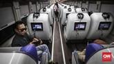 PT Kereta Api Indonesia (KAI) kembali meluncurkan kereta sleeper jenis terbaru yang bernama Luxury 2 di Jakarta, Minggu (26/5).(CNN Indonesia/ Hesti Rika)
