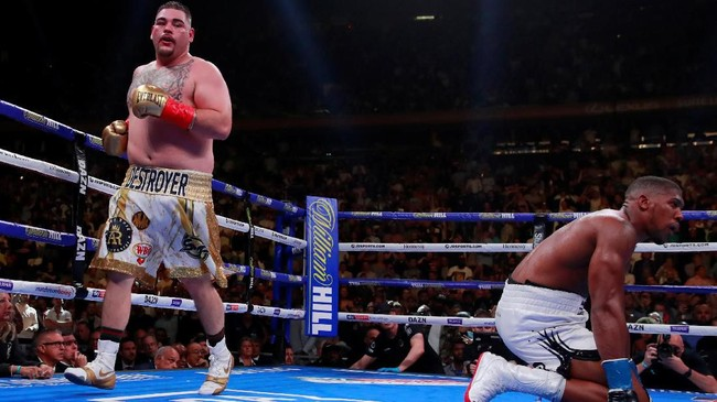 Andy Ruiz Jr kemudian berhasil menjatuhkan Anthony Joshua di ronde ketujuh. Kali ini Ruiz membuat Joshua tidak mampu melanjutkan pertarungan. (Reuters/Andrew Couldridge)