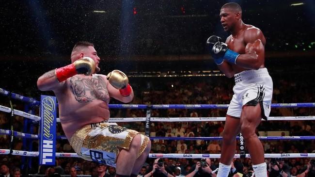 Pertarungan berlangsung menarik sejak ronde pertama. Andy Ruiz Jr. yang menggantikan posisi Jarrell Miller sebagai penantang Anthony Joshua memberikan perlawanan sengit. (Reuters/Andrew Couldridge)