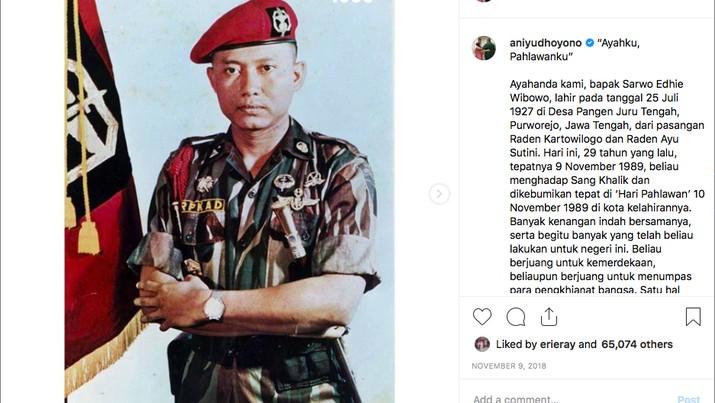 Istri Presiden RI ke-6 Susilo Bambang Yudhoyono (SBY), Ani Yudhoyono meninggal dunia pada Sabtu (1/6/2019) pukul 11:50 waktu Singapura.