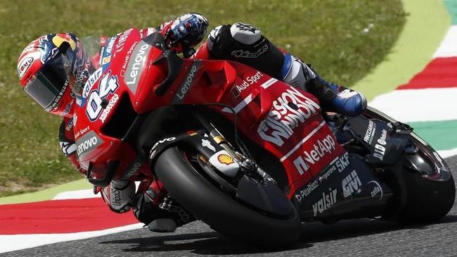 Pebalap Ducati Andrea Dovizioso akan start dari posisi sembilan setelah 'diganggu' Marc Marquez pada babak kualifikasi MotoGP Italia 2019. (AP Photo/Antonio Calanni)